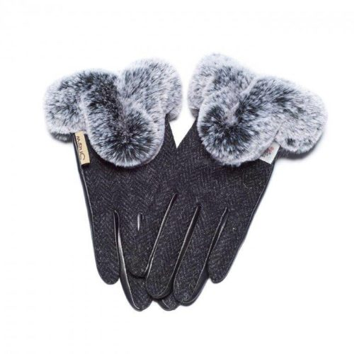 Dark Black Harris Tweed Gloves With Fur