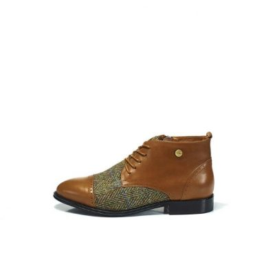 Chestnut Buffalo Leather Desert Boots With Harris Tweed Upper